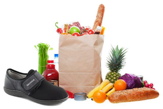 scarpe ortopediche e spesa alimentare